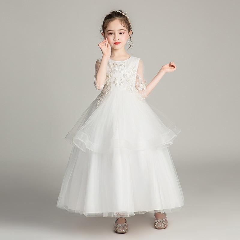 Elegant First Communion   Dresses   Ball Gown For   Girls   O-Neck 3/4 Sleeve Bow Sashes   Flower     Girl     Dresses   For Weddings Vestido Flores
