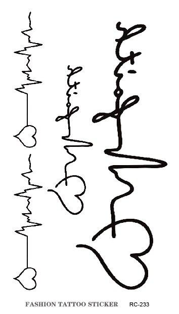 Amor Amante Electrocardiograma Tatuaje Pegatinas Harajuku Tatuaje De
