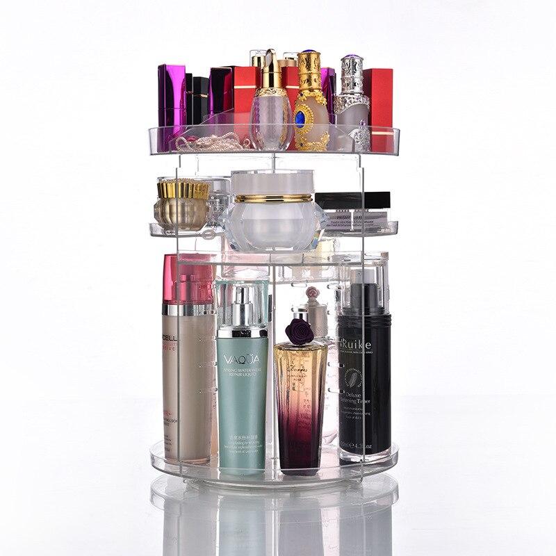 Grand organisateur cosmétique acrylique rotatif clair en plastique stockage bain salle de bain Rack étagère pour le maquillage