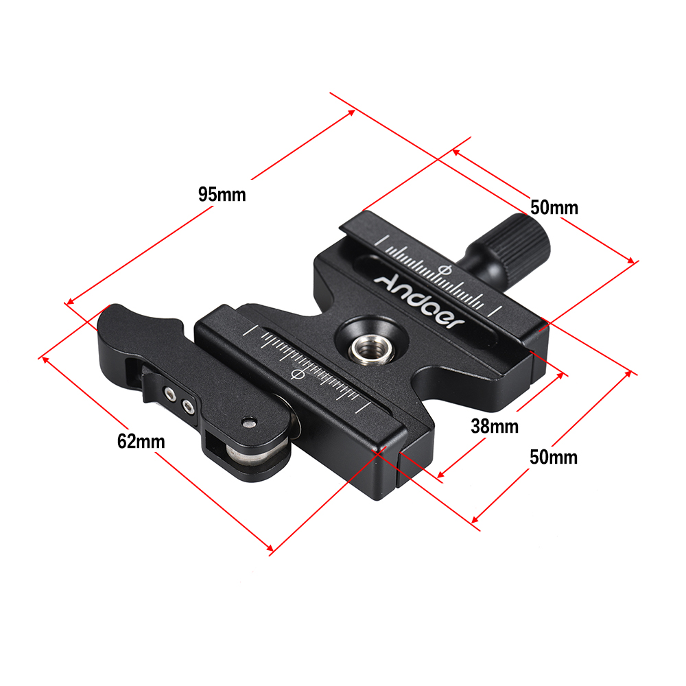 "Andoer CL-50LS Quick Release Clamp Adjustable Lever Knob-Type 1/4""&3/8"" Hole for Arca Swiss Quick Release Plate Ball Head Tripod - ANKUX Tech Co., Ltd"