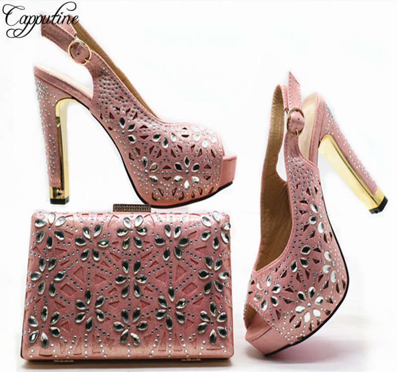 Capputine Italian Crystal High Heels Pink Shoes And Purse Set Afircan Ladies Shoes With Matching Bag Set For Wedding Dress G49 capputine african shoes and bag matching set with crystal hot selling women italian shoes and bag set for wedding dress bl735c
