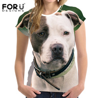 FORUDESIGNS Brand Women Summer T Shirt Cute 3D Bull Terrier Dog Woman Tops Crop T Shirt