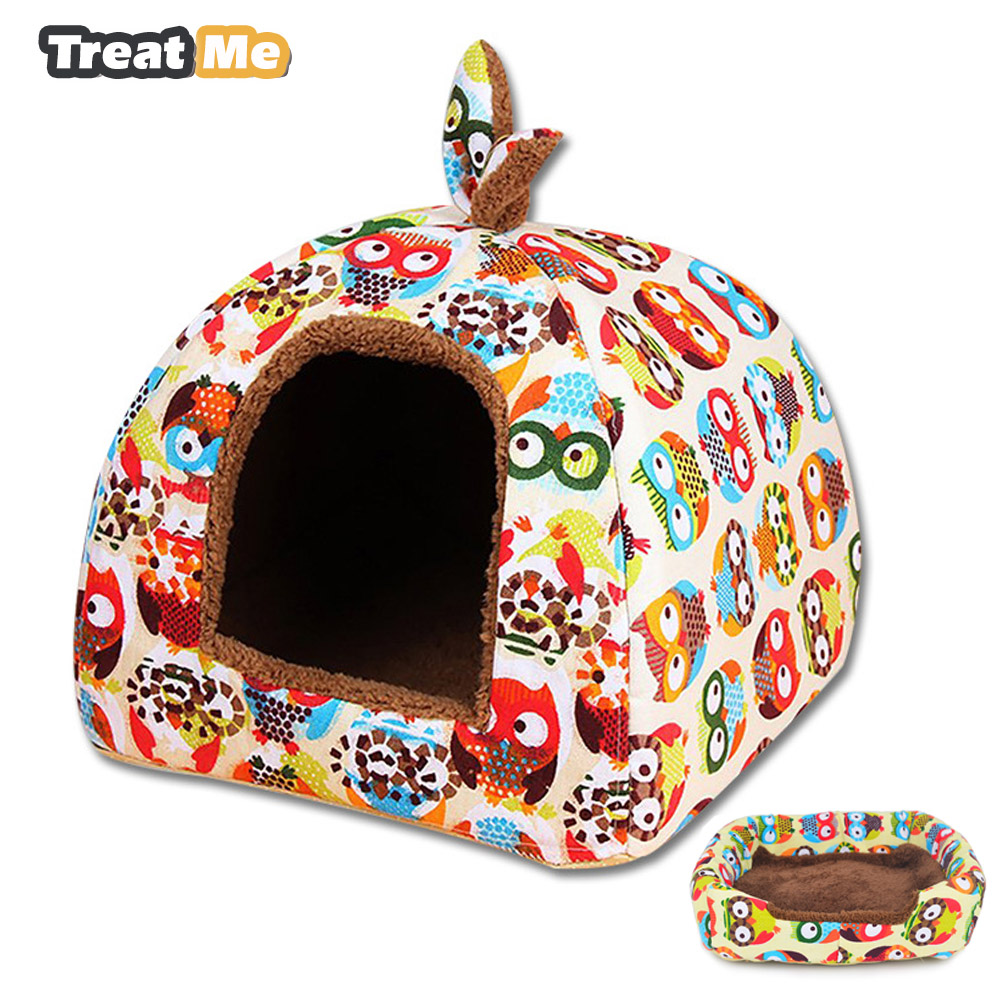 Foldable Dual-use Cat House Warm Soft Pet Bed Non-slip Bottom Cute Shape Cartoon Owl Printing Cat Bed For Cats And Small Dog