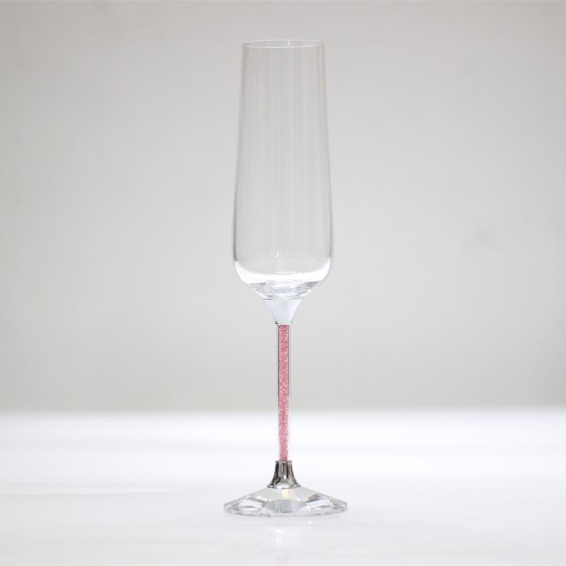 kristal roosteren wijnglazen roze kleur stengel bruiloft glazen - Keuken, eetkamer en bar