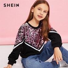 SHEIN/Детский Повседневный пуловер с контрастными пайетками; толстовки для девочек; топы; коллекция года; Весенняя Корейская одежда с длинными рукавами для детей и подростков