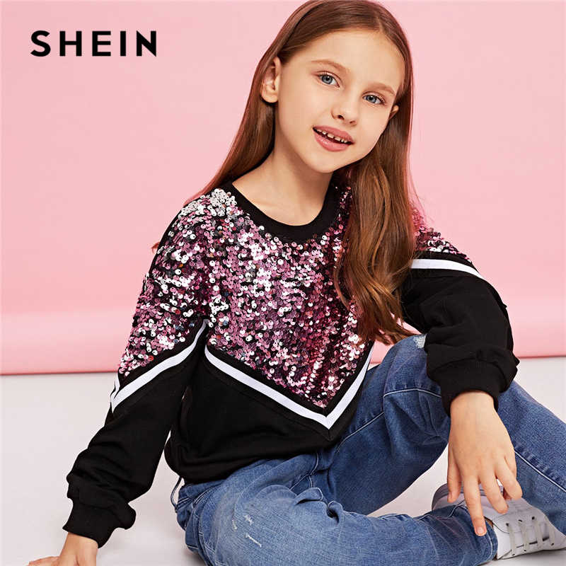 ed4154e38a SHEIN Kiddie Contrast Sequin Casual Pullover Sweatshirts For Girls Tops  2019 Spring Korean Long Sleeve Kids