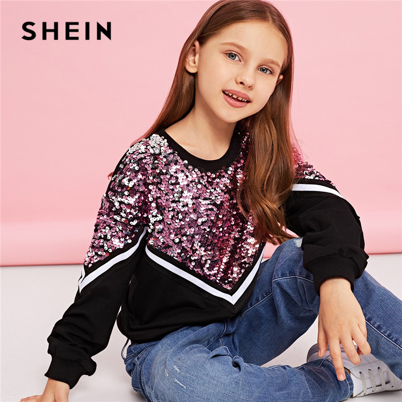 SHEIN Kiddie Contrast Sequin Casual Pullover Sweatshirts For Girls Tops 2019 Spring Korean Long Sleeve Kids Teenager Clothes sequin