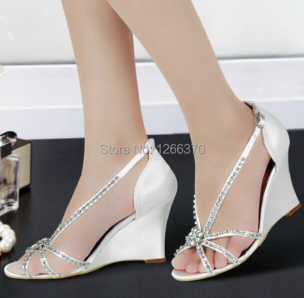 livraison rapide custom faire mariage blanc ivoire strass talon compens sandales de mariejpg - Chaussure Compense Mariage
