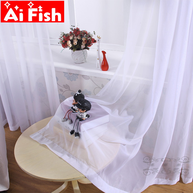 Sosire Noua Design rustic Alb Solid Design All-match Cortina Tulle pentru camera de zi Living Dormitor Panou de ferestre Panou de screening wp184 # 10