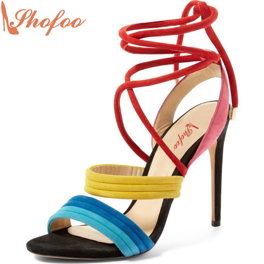 ФОТО Shofoo Women Handcraft 2017 Summer multi Color High Heel Rainbow Sandals For Woman Party Wedding Evening Shoes Large Size 4-16