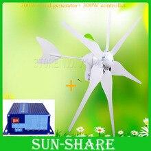 El Envío Gratuito! VENTAS CALIENTES 6 cuchillas generador del molino de viento generador de viento generador de energía solar controlador de carga DC 12 V/24 V PARA INICIO/LED