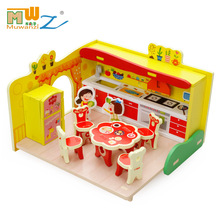 Free shipping children play toys, girls house dream kitchen utensils and tableware suit Kids wooden toy/Gift