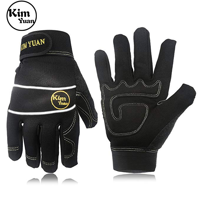 KIM YUAN Mechanic General Utility Breathable Work Gloves Touch Screen Skid/Abrasion Resistant, Pefect For Warehouse, Gloves -M