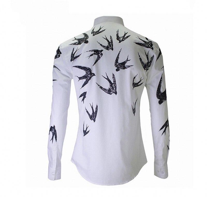 New Luxury Print Shirt Men Top Autumn Winter Slim Swallow Shirts Mens White High Quality Business Casual Cotton Man Shirt - 2
