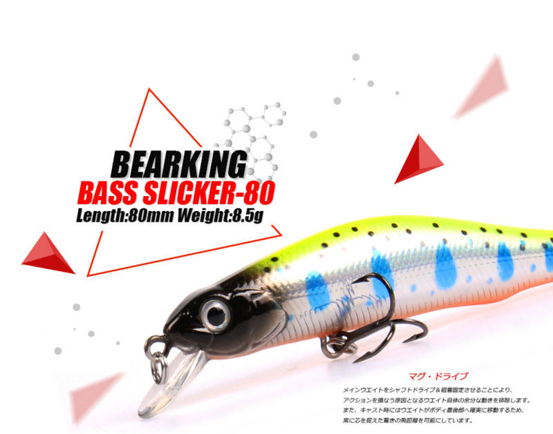 Retail A+ fishing lures, assorted colors, minnow crank 80mm 8.5g, magnet system. bearking 2016 hot model crank bait