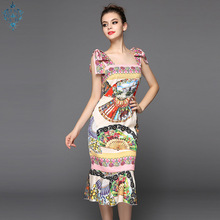 Ameision 2019 Fashion Runway Summer Dress Womens Spaghetti Strap Vintage Floral Print Sexy Mermaid Sheath Party Dresses