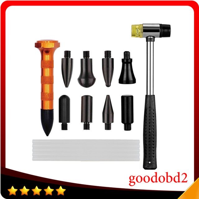 PDR Knockdown Tool Kits Dent Removal Tool+Rubber Dent Hammer+5pcs PDR Glue Sticks+9 Head PDR Down for Auto Body Dent Remover