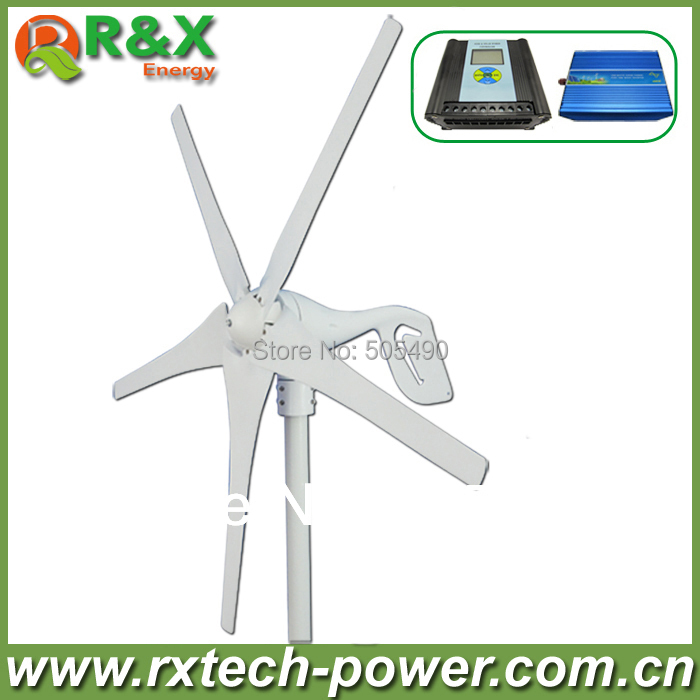 Horizontal wind turbine generator 400w rated wind generation +wind/solar hybrid controller(LCD display)+600w inverter. 600w wind solar hybrid controller 400w wind turbine 200w solar panel charge controller 12v 24v auto with big lcd display