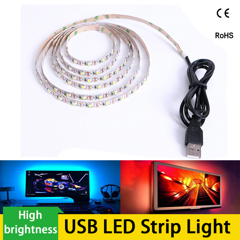 USB LED Strip 3528 DC 5V RGB /White/Warm White 50CM 1M 2M 3M 4M 5M TV Desktop Screen Background Bias Lighting