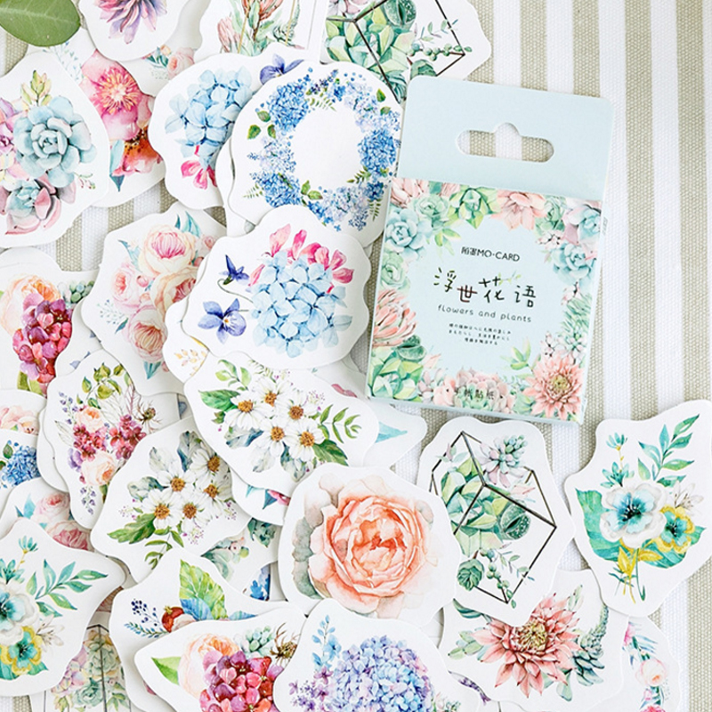 46pcs box Fresh flower language Diary Decoration Stickers DIY Planner Scarpbooking sealing Label Sticker Children Stationery in Stationery Stickers from Office School Supplies