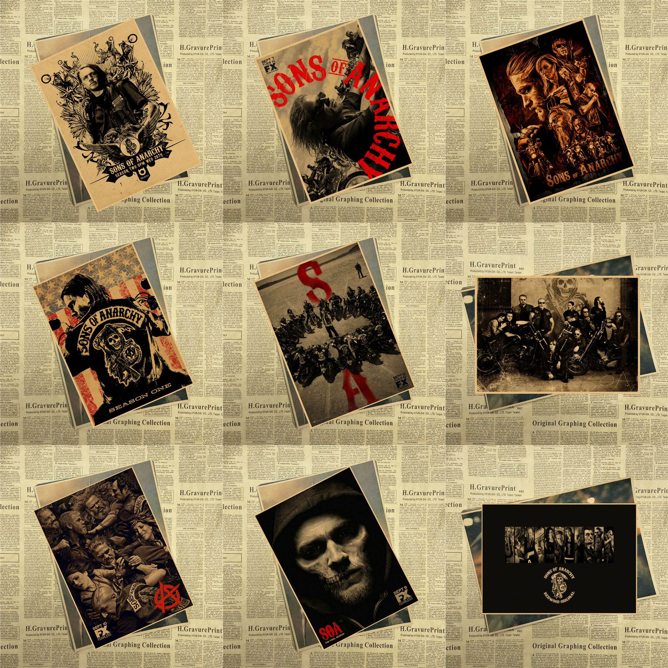 sons of anarchy Art Kraft Poster Print Jax Teller TV Series Pictures for Home Wall Decor 30x21cm