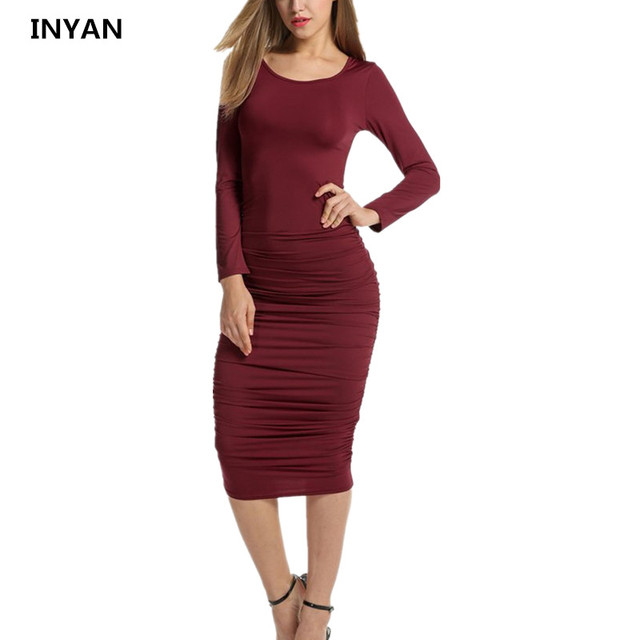 1bdd005886c1f US $18.98 |Elegant Women Slim Sexy Wrinkle Long Sleeve Tight Fashion Solid  Dress Casual Vestidos Autumn New Arrival O neck Soft Dresses-in Dresses ...