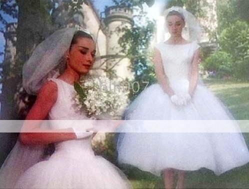 Face Ball Gown Bateau Tea Length Satin Tulle Celebrity Wedding Dresses WSM0363 Audrey Hepburn