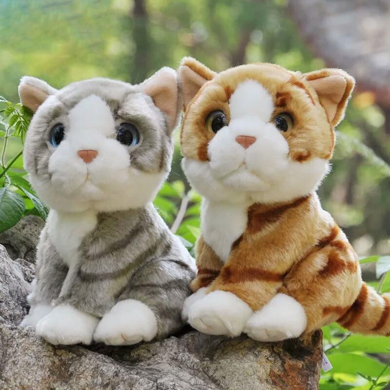 18cm Yellow Stripe Cat Stuffed Toys Cute Simulation Grey Cat Plush