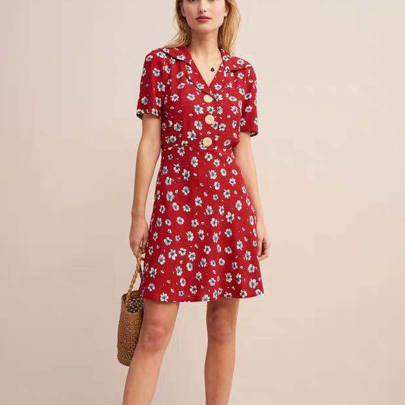 Women Dress 2019 Summer Large Button Lapel Short Sleeve Print V neck mini Dress for holiday