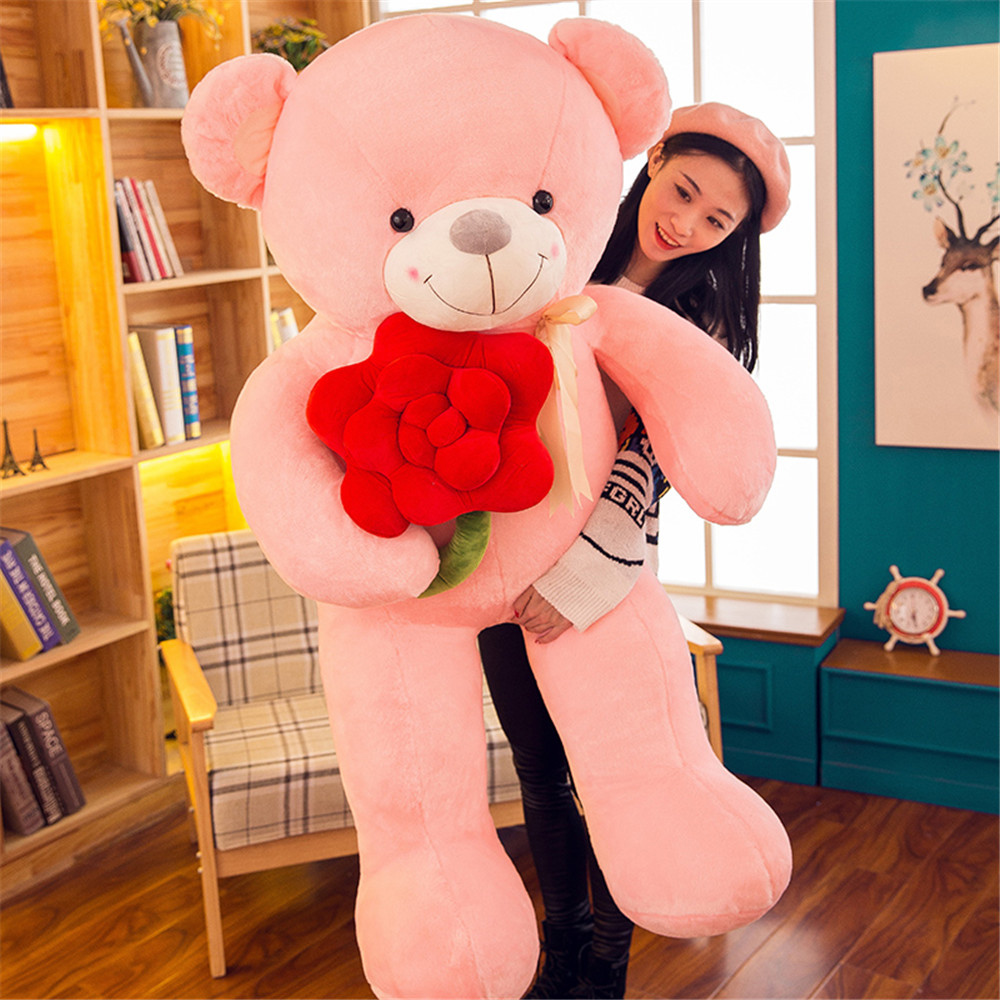 Fancytrader Flower Teddy Bear Gifts Doll Big Giant Soft Pop Bears Animals Plush Toys for Girls 140cm/90cm fancytrader biggest in the world pluch bear toys real jumbo 134 340cm huge giant plush stuffed bear 2 sizes ft90451