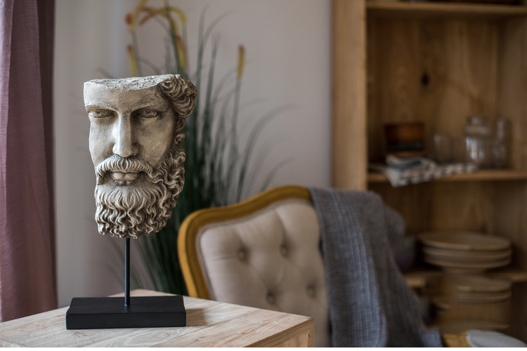 Resin Half Face Statue Abstract Statuettes Freud Face Prometheus Face Mask Sculpture for Office Vintage Home Decoration
