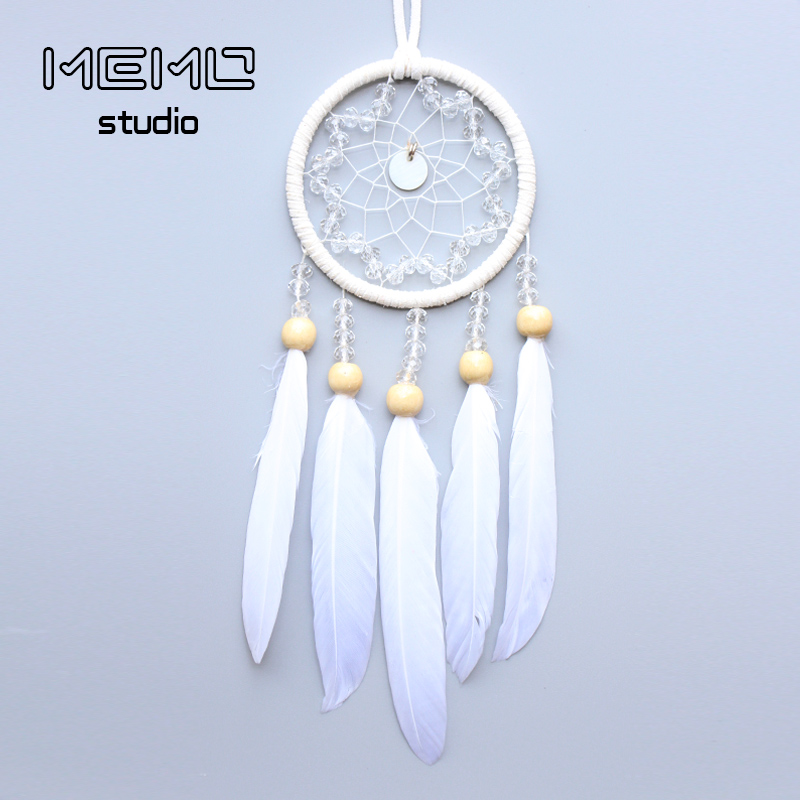 Handmade white dream catcher pendant for valentine's Christmas day Auto car accessories girl gifts Home decoration