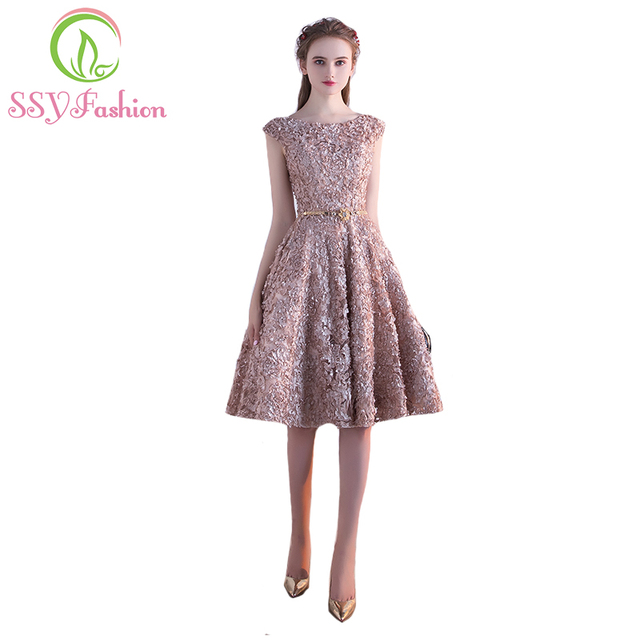 Robe De Soiree SSYFashion Flower A-line Cocktail Dress The Banquet Elegant  Lace Up Party Formal Dresses Custom Made Party Gown 62478b717556