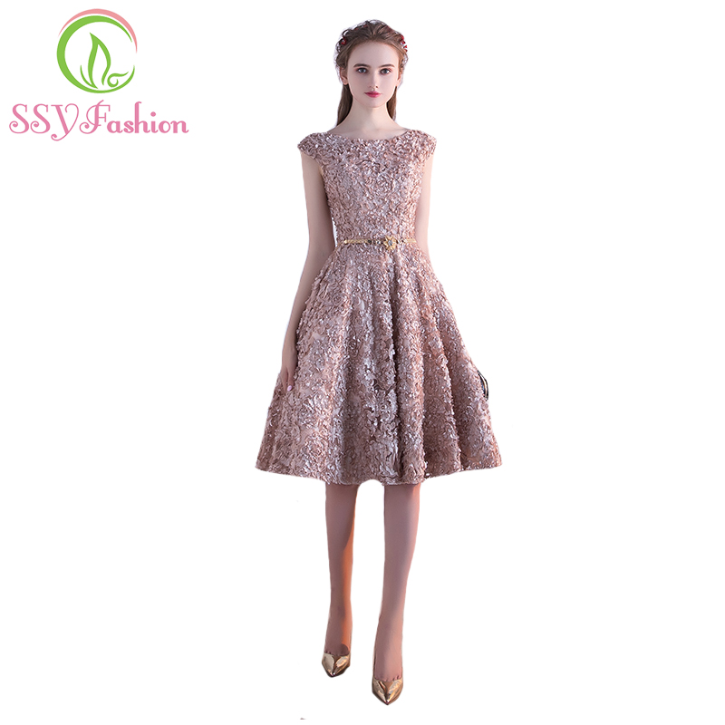 Robe De Soiree SSYFashion Flower A-line   Cocktail     Dress   The Banquet Elegant Lace Up Party Formal   Dresses   Custom Made Party Gown