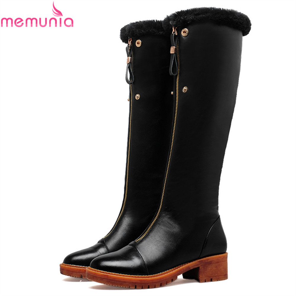 MEMUNIA 2018 hot sale new women boots round toe zipper genuine leather+pu ladies boots square heel cow leather knee high boots memunia fashion women boots round toe ladies genuine leather boots square heel zipper cow leather wool keep warm mid calf boots