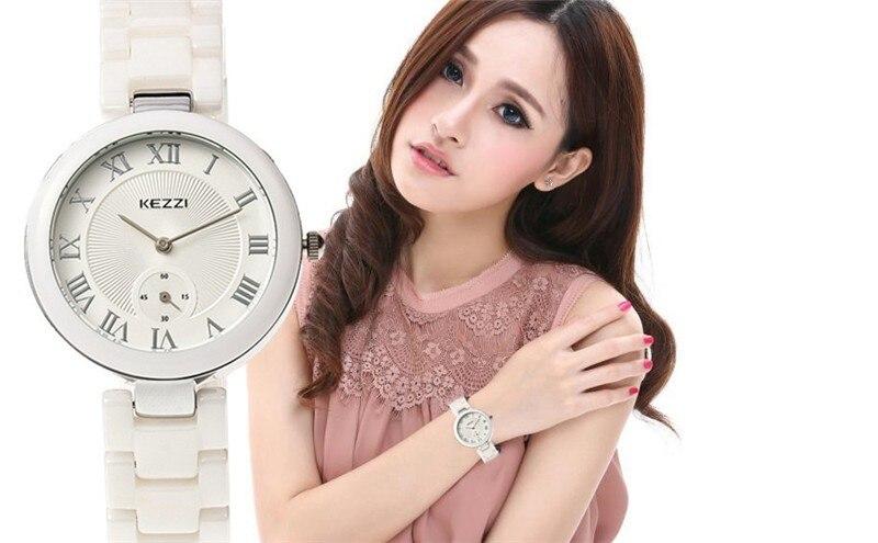 все цены на KEZZI Brand Lady New Design Fashion Casual Ceramic Watch Women Gold Sliver Wrist Watches Female Clock Relogio Feminino k1438 онлайн