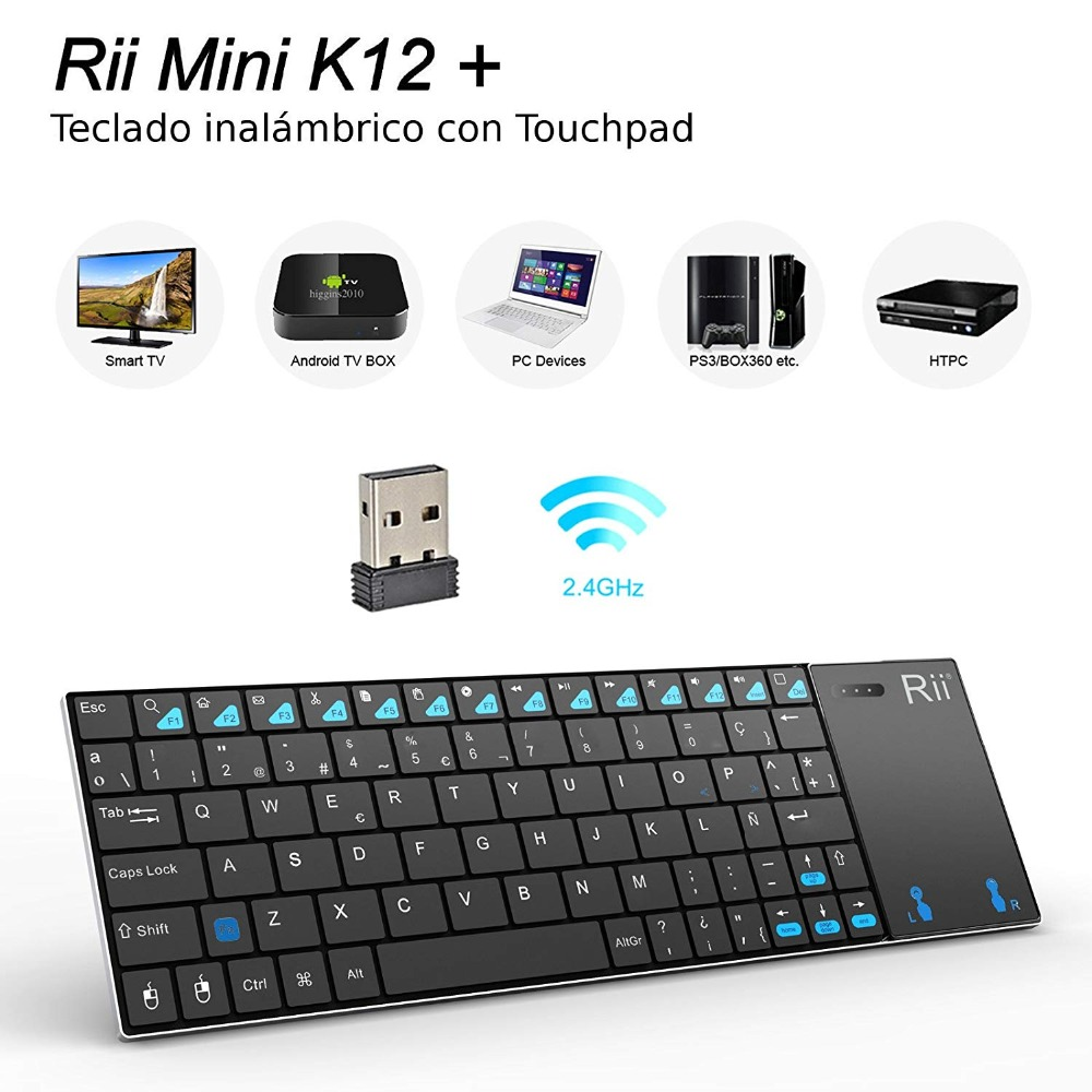 Spanish Keyboard Rii Mini K12+/i12+ Wireless Keyboard And  K12+ Bluetooth Keyboard With Touchpad Mouse For PC Tablet Android