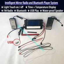 Sistema de música con Radio y Bluetooth, indicador de fecha de temperatura de superficie de espejo de baño, puerto USB, interruptor de Sensor táctil