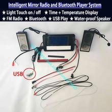 Système de musique, affichage de la température de Surface miroir de salle de bains, affichage de la température de lheure, Radio, prise Bluetooth, prise USB, interrupteur à capteur tactile