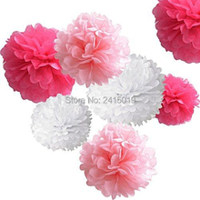 24xNew mixed sizes hot pink white tissue paper bunting pom poms wedding party wall hanging decorative banner garland