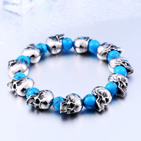 BEIER 2017 Stainless Steel New Arrival High Quality Punk Skull Bracelet Charms Bangle Personality Fashion Men