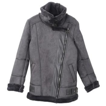 Fashion Biker Women Fur Coats Thick Warm Fur Overcoats Office Lady Automotive Fur Coats Outwear European and American Style A123