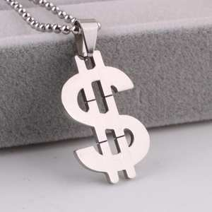 free shipping Big dollar symbol pendant necklaces bead chain for men 316L Stainless Steel