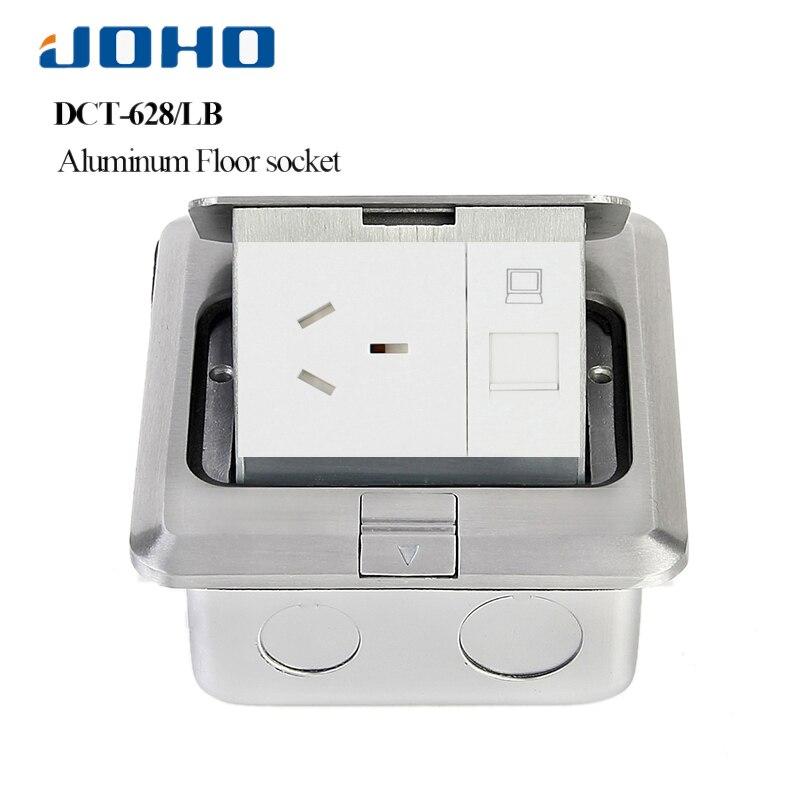 JOHO alliage d'aluminium rapide Pop up boîte de prise de sol 10A 250 V prise australienne 2 pôles prise RJ45 HDMI USB