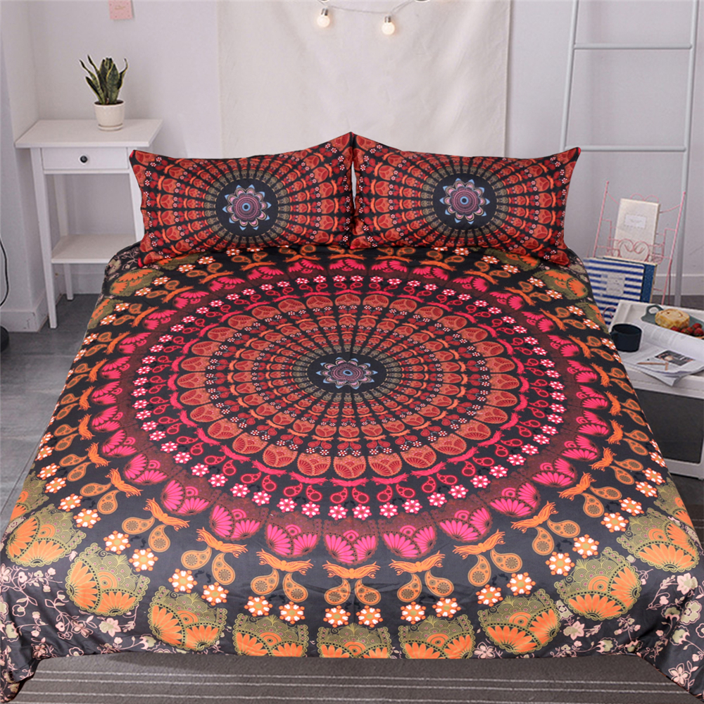 Red flowers Bohemia bedding set duvet cover pillowcase 3 pcs bedspread cover new fashion twin full queen king size bedclothesRed flowers Bohemia bedding set duvet cover pillowcase 3 pcs bedspread cover new fashion twin full queen king size bedclothes