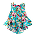 Fashion Baby Floral Dress Sleeveless Falbala Ropes Backless Pricess Summer Vest Girl Dress Kid's Clothes
