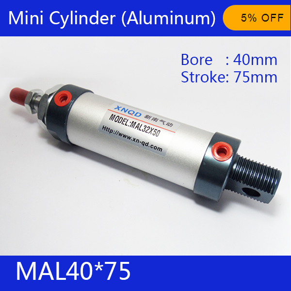 Free shipping barrel 40mm Bore75mm Stroke  MAL40*75 Aluminum alloy mini cylinder Pneumatic Air Cylinder MAL40-75