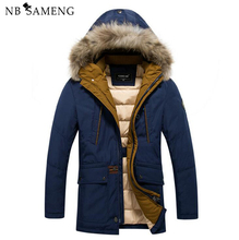 2016 Thick Warm Winter For Men's Waterproof Fur Coller Parkas Hooded Coat 13M0667