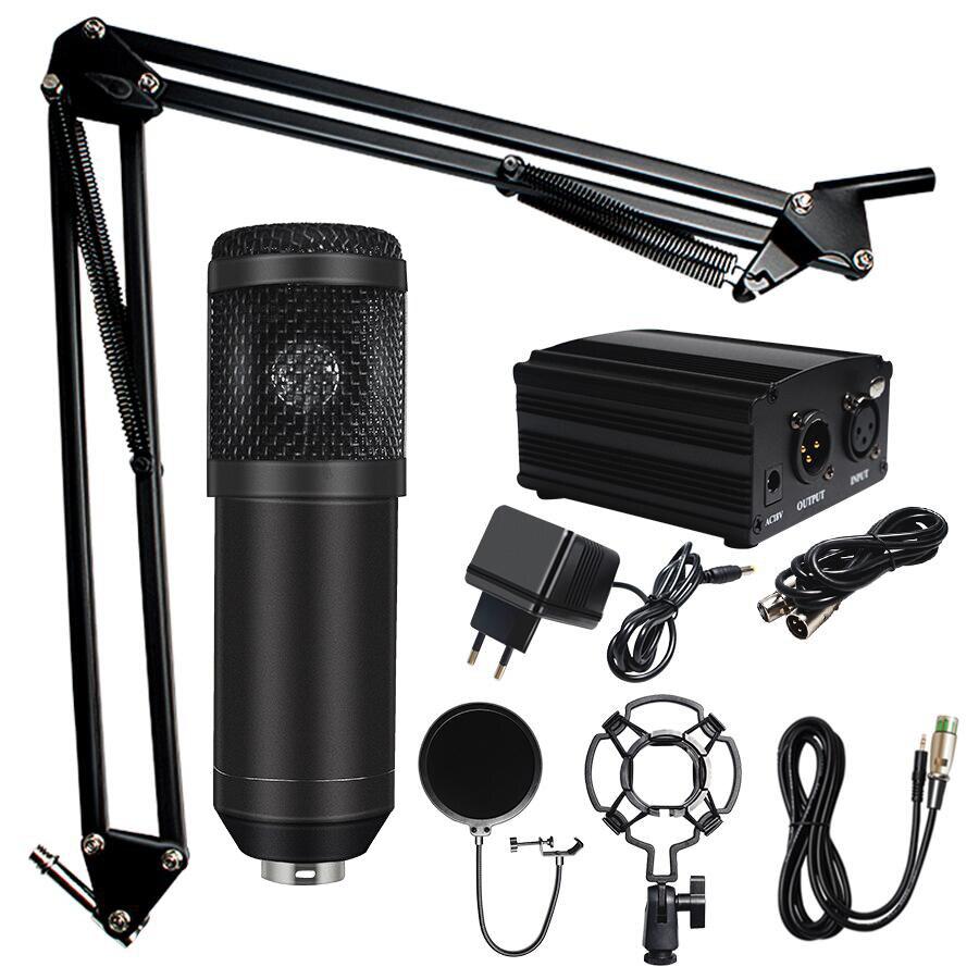 BM 800 Microfone de Karaokê Microfone Condensador microfone profissional Kits Pacote Estúdio de Gravação do Microfone para Computador