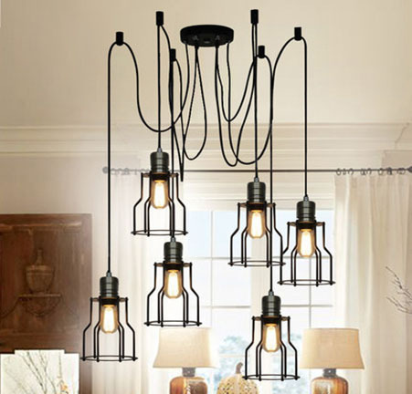 American Country Creative Fashion Personality Art Style Spider Scalable Chandelier Bar Restaurant Decoration Lamp Free Shipping modern american personality lamp spider extendable light pendant scalable lamp home office bar decoration light lamp